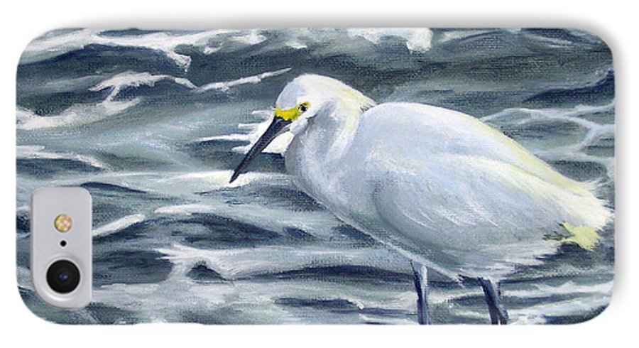 Egret IPhone 7 Case featuring the painting Snowy Egret On Jetty Rock by Adam Johnson