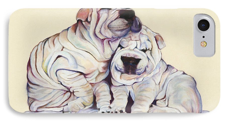 Dog Painting IPhone 7 Case featuring the pastel Snuggles by Pat Saunders-White