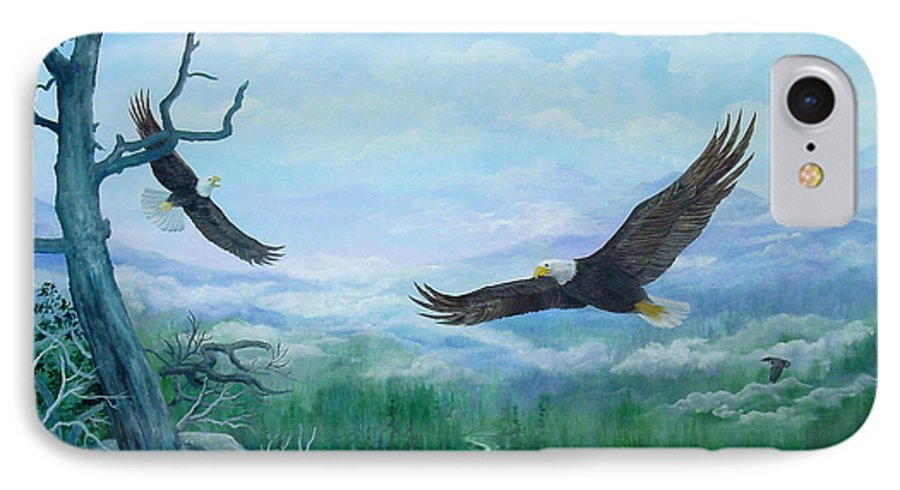 Eagles;birds;river Valley;mountains;sky; IPhone 7 Case featuring the painting Soaring by Lois Mountz