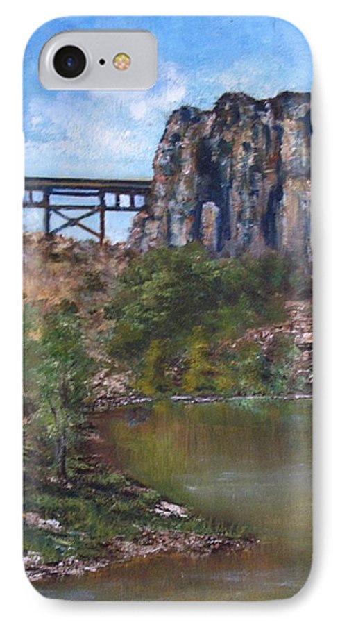 Landscape IPhone 7 Case featuring the painting S.o.b Caynon by Darla Joy Johnson