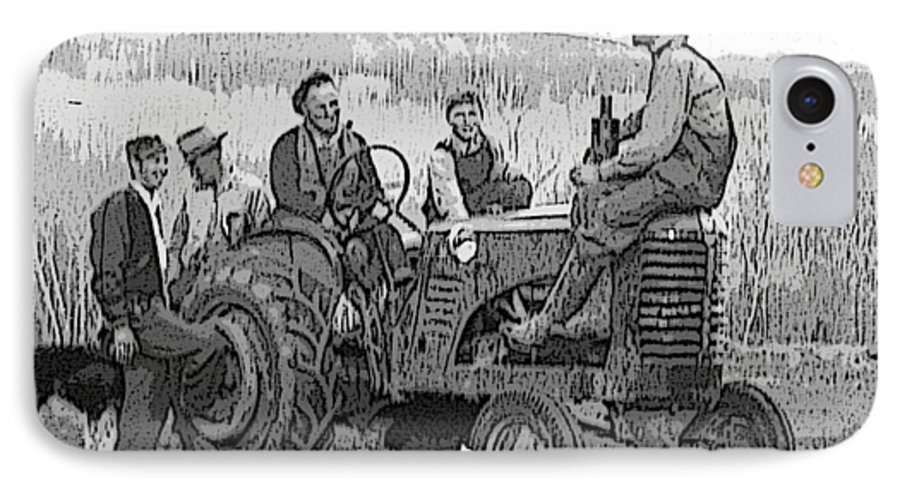 Tractor IPhone 7 Case featuring the digital art Social Gathering At The Tractor by Donald Burroughs