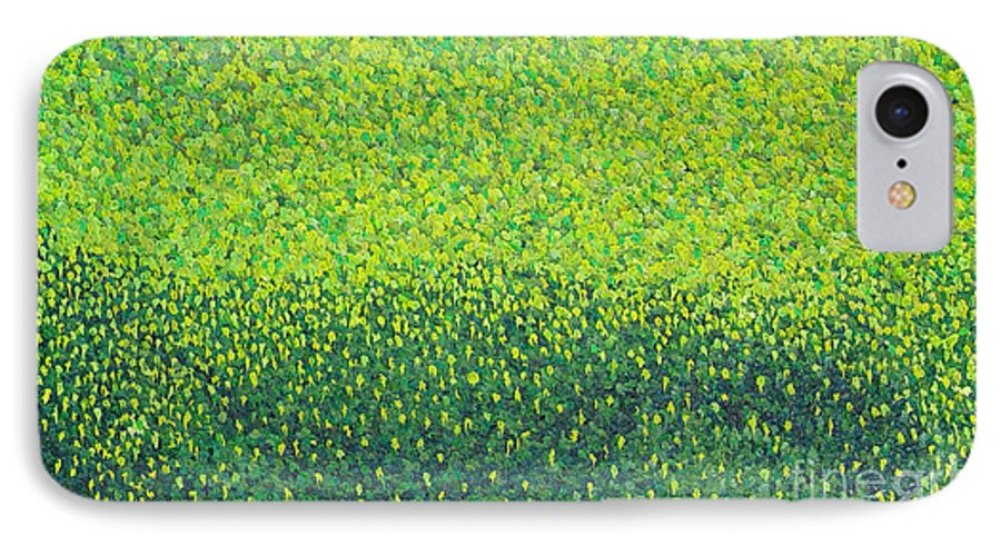 Abstract IPhone 7 Case featuring the painting Soft Green Wet Trees by Dean Triolo