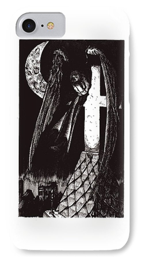 Angel IPhone 7 Case featuring the drawing Solemn Vigil by Tobey Anderson