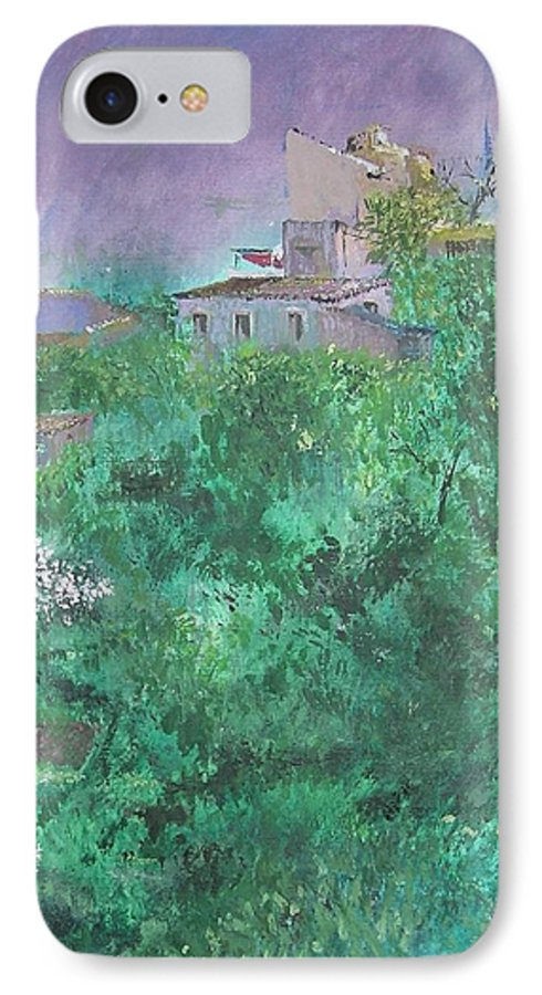 Impressionist IPhone 7 Case featuring the painting Solitary Almond Tree In Blossom Mallorcan Valley by Lizzy Forrester
