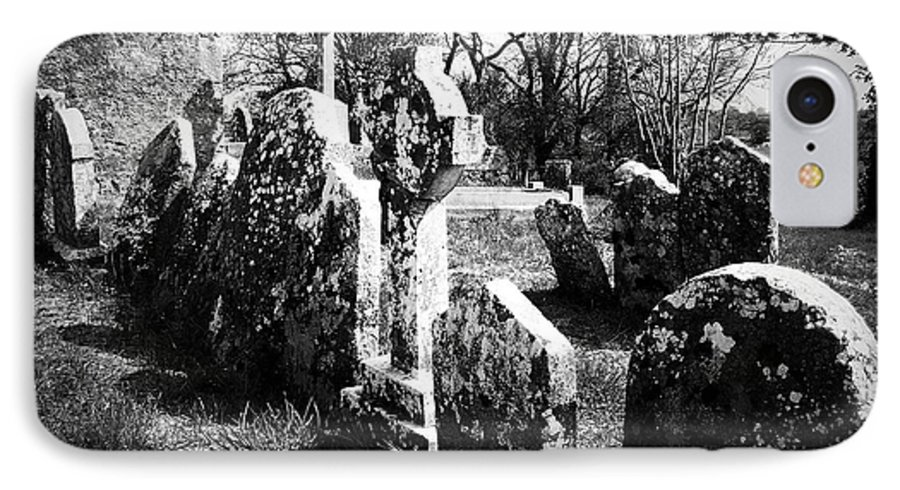 Ireland IPhone 7 Case featuring the photograph Solitary Cross At Fuerty Cemetery Roscommon Irenand by Teresa Mucha