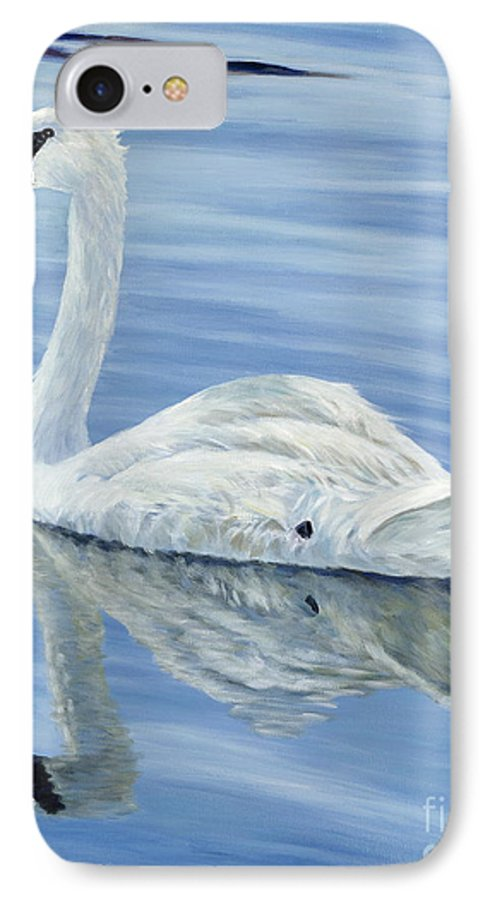 Swan IPhone 7 Case featuring the painting Solitary Swan by Danielle Perry