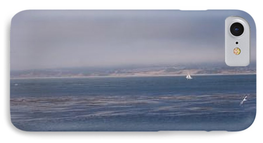 Sailing Outdoors Sail Ocean Monterey Bay Sea Seascape Boat Shoreline Sky Pacific Nature California IPhone 7 Case featuring the photograph Solo Sail In Monterey Bay by Pharris Art