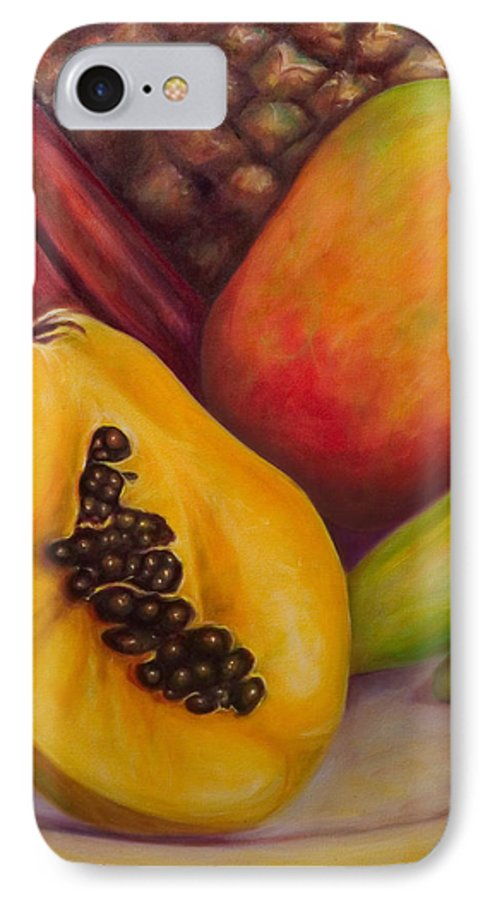 Tropical Fruit Still Life: Mangoes IPhone 7 Case featuring the painting Solo by Shannon Grissom