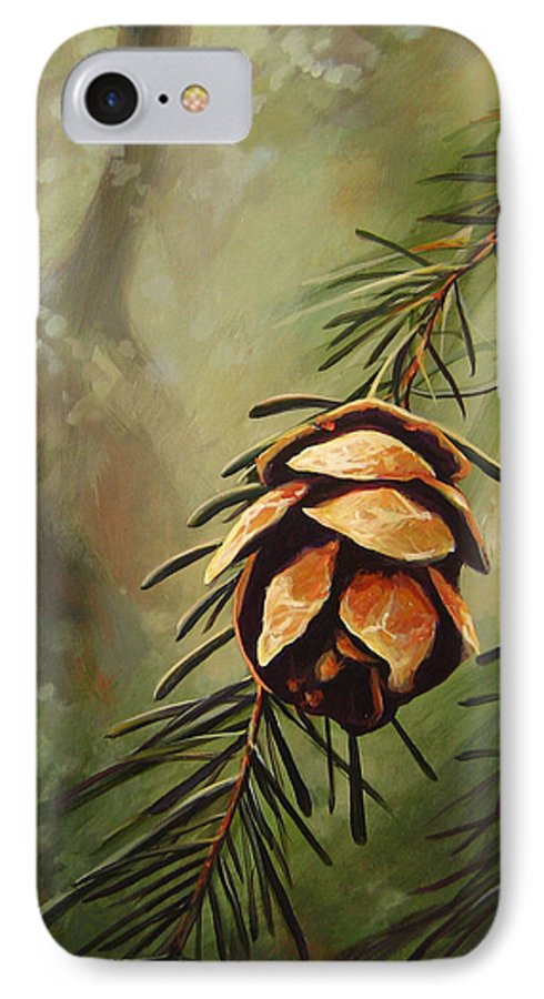 Closeup Of Spruce Cone IPhone 7 Case featuring the painting Solstice by Hunter Jay