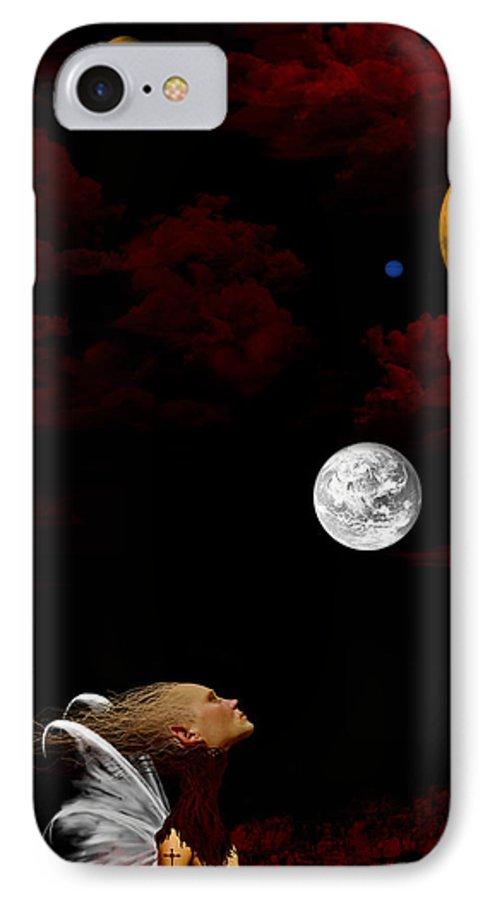 Moon IPhone 7 Case featuring the digital art Sometimes I Wonder by Ruben Flanagan
