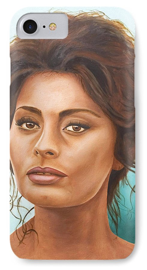 Moviestar IPhone 7 Case featuring the painting Sophia Loren by Rob De Vries
