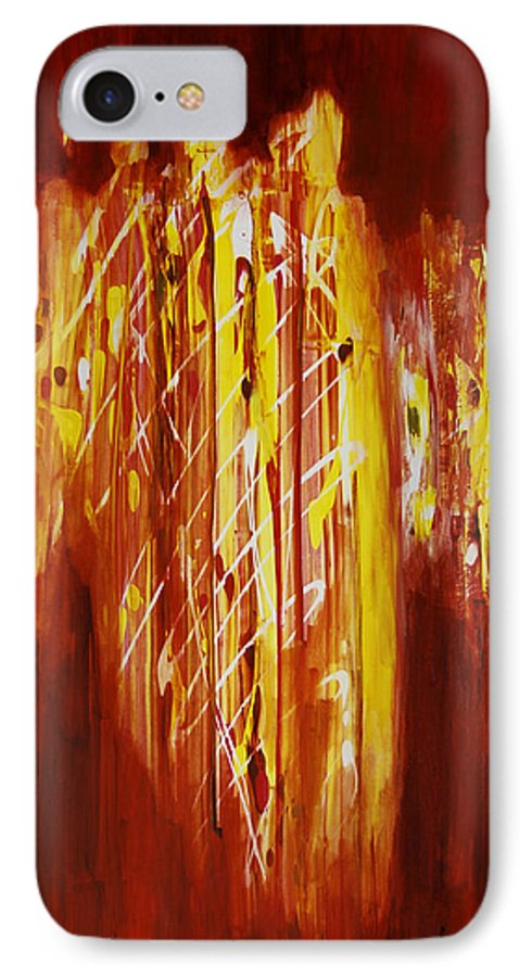 Abstract IPhone 7 Case featuring the painting Soul Train by Tara Moorman