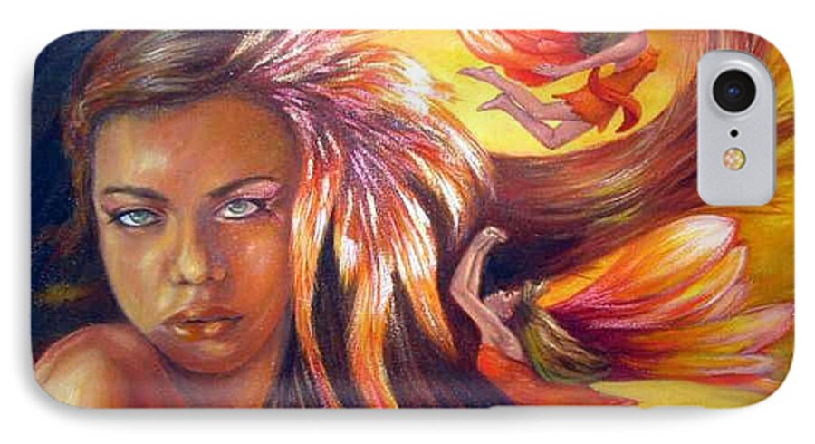 IPhone 7 Case featuring the painting Soulfire by Anne Kushnick