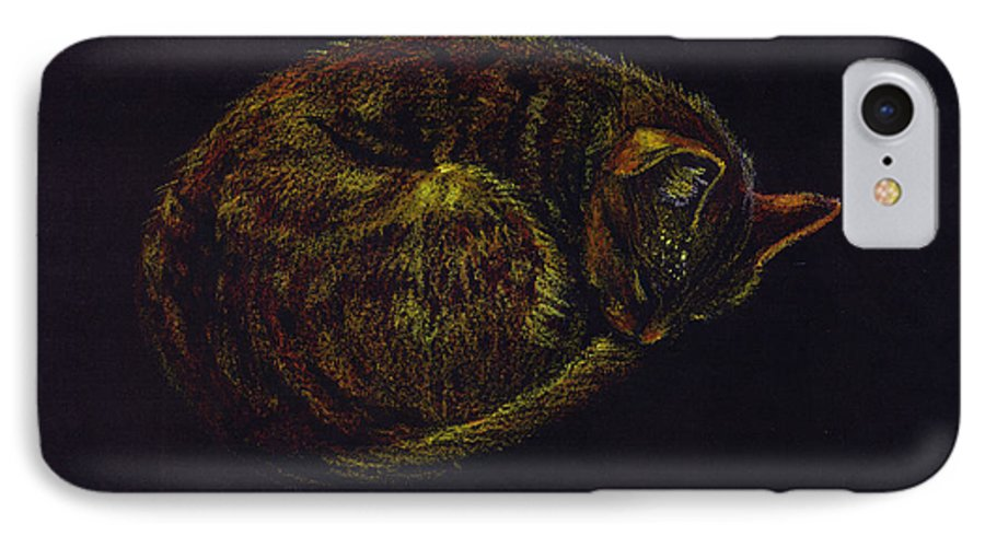 A Cat Soundly Asleep-oil Pastel IPhone Case featuring the painting Sound Asleep II by Mui-Joo Wee
