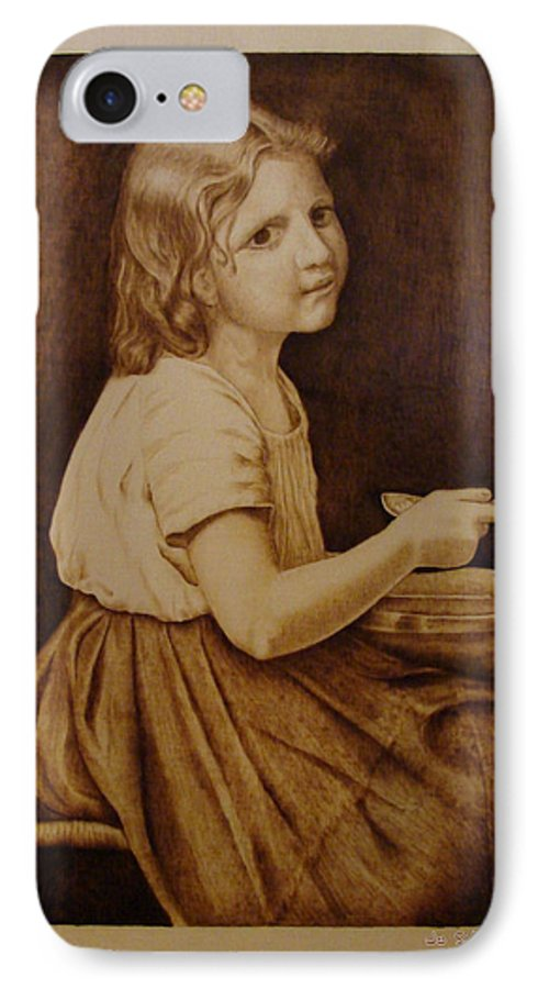 Portrait; Soup; Stool; Spoon; Sepia; Skirt; IPhone 7 Case featuring the pyrography Soup by Jo Schwartz