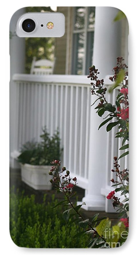 Summer IPhone 7 Case featuring the photograph Southern Summer Flowers And Porch by Nadine Rippelmeyer