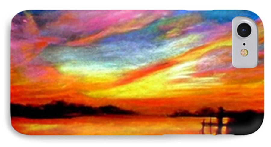 Sunset IPhone 7 Case featuring the painting Southern Sunset by Gail Kirtz
