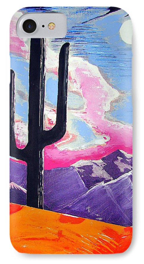Cactus IPhone 7 Case featuring the painting Southwest Skies 2 by J R Seymour