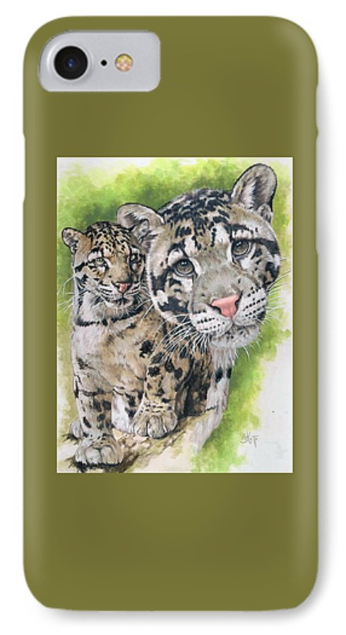 Clouded Leopard IPhone 7 Case featuring the mixed media Sovereignty by Barbara Keith