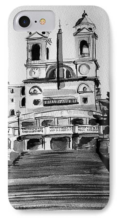 Ink IPhone 7 Case featuring the painting Spanish Steps by Laura Rispoli