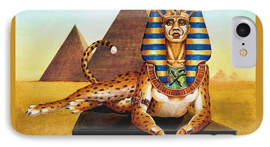 Cat IPhone 7 Case featuring the painting Sphinx On Plinth by Melissa A Benson
