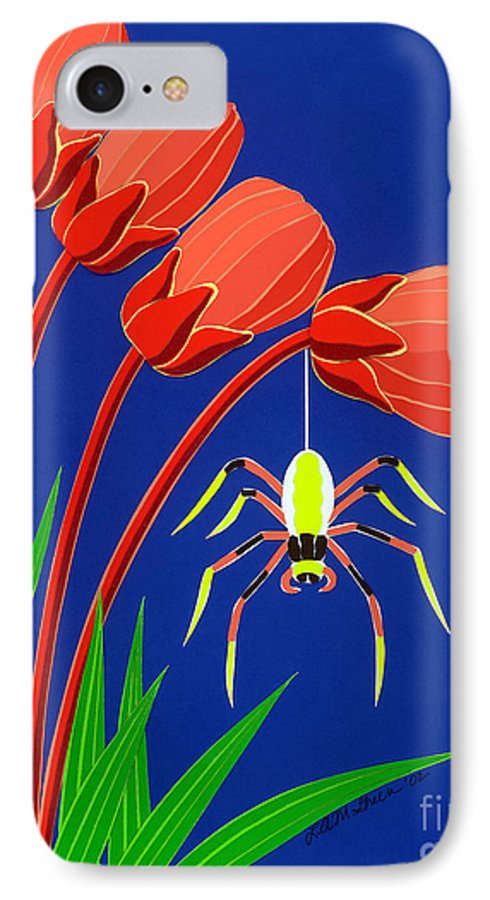 Nature IPhone 7 Case featuring the drawing Spider by Lucyna A M Green