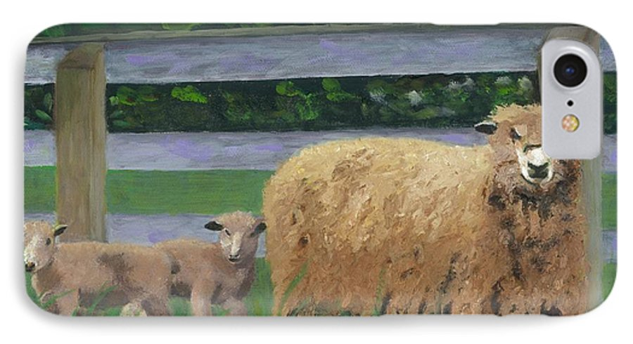 Sheep Lambs Countryside Farm Spring IPhone 7 Case featuring the painting Sping Lambs by Paula Emery