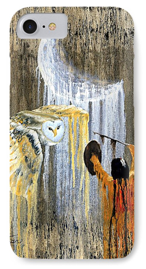 Indian Art IPhone 7 Case featuring the painting Spirit Of The Night by Patrick Trotter