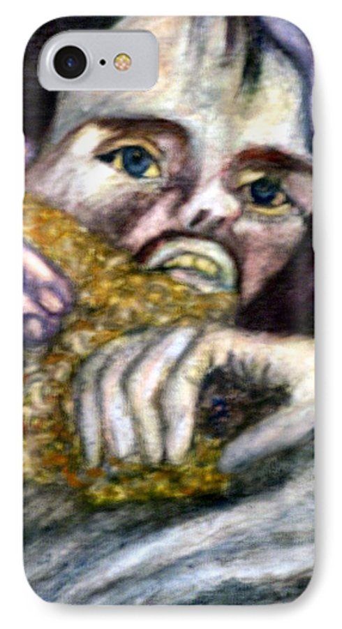 Spiritual Portrait IPhone 7 Case featuring the painting Sponge Christ Your Eyes by Stephen Mead