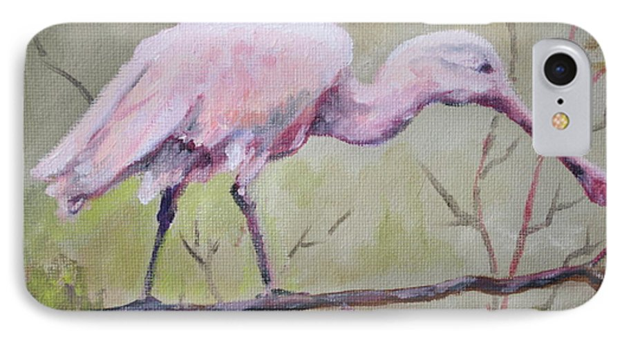Bird IPhone 7 Case featuring the painting Spoonbill by Carol Mueller