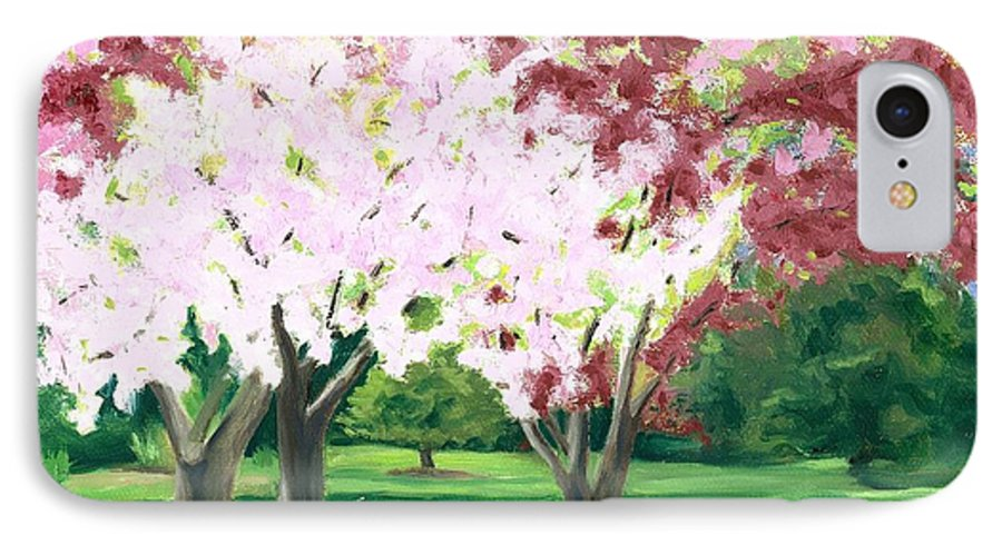 Spring IPhone 7 Case featuring the painting Spring At Osage Land Trust by Paula Emery