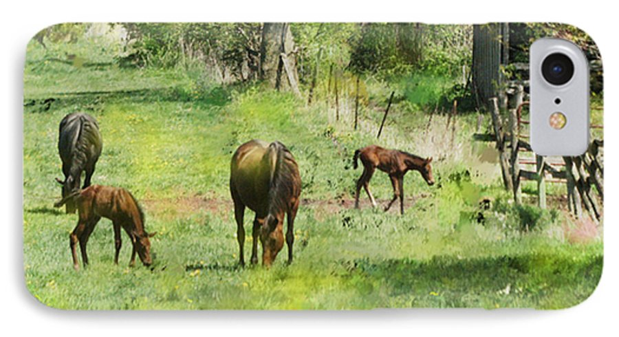 Spring Colts IPhone 7 Case featuring the digital art Spring Colts by John Beck