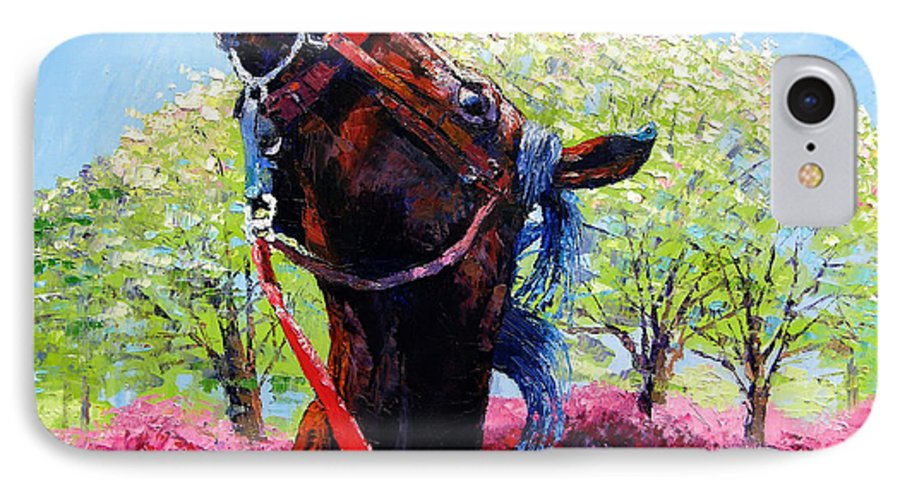 Horse IPhone 7 Case featuring the painting Spring Fever by John Lautermilch