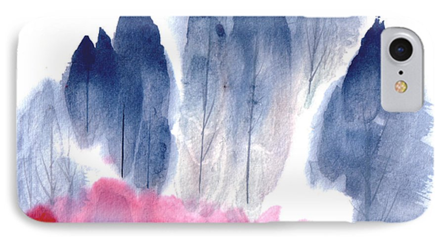A Forest With Red Blooming Bushes In Spring. This Is A Contemporary Chinese Ink And Color On Rice Paper Painting With Simple Zen Style Brush Strokes.  IPhone Case featuring the painting Spring Forest by Mui-Joo Wee