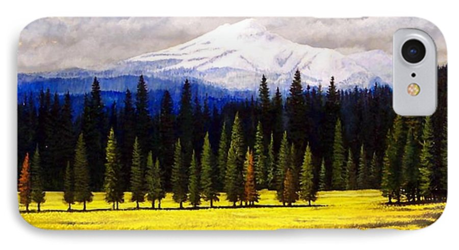 Landscape IPhone 7 Case featuring the painting Spring Meadow Mount Brokeoff by Frank Wilson