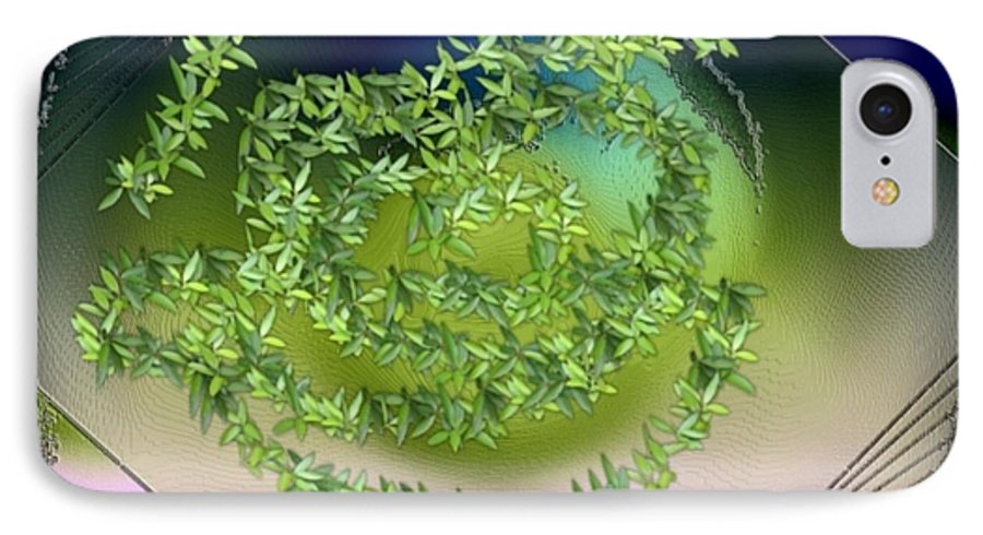 Glass.plate.leaves.salad.light.shadow.dish.kitchen.beauty.spring. IPhone 7 Case featuring the digital art Spring Salad On Glass Plate by Dr Loifer Vladimir