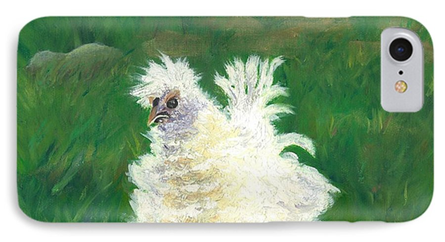 Bantam Frizzle Farmscene Chickens Hen Bird Nature Animals Spring Freerangers IPhone 7 Case featuring the painting Squiggle by Paula Emery