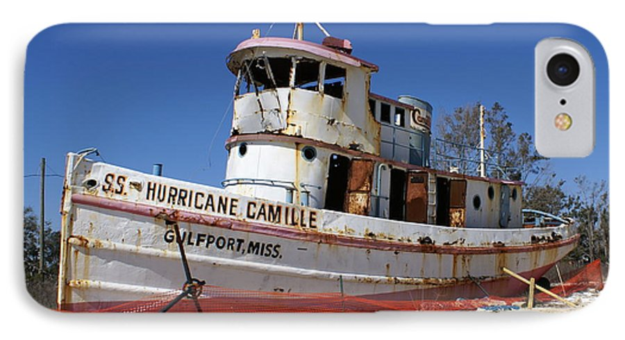 Ship IPhone 7 Case featuring the photograph S.s. Hurricane Camille by Debbie May