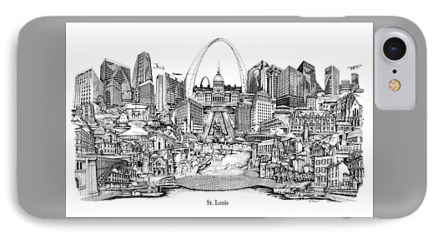 City Drawing IPhone 7 Case featuring the drawing St. Louis 4 by Dennis Bivens