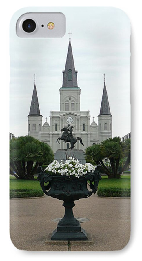 New Orleans IPhone 7 Case featuring the photograph St. Louis Cathedral New Orleans by Kathy Schumann