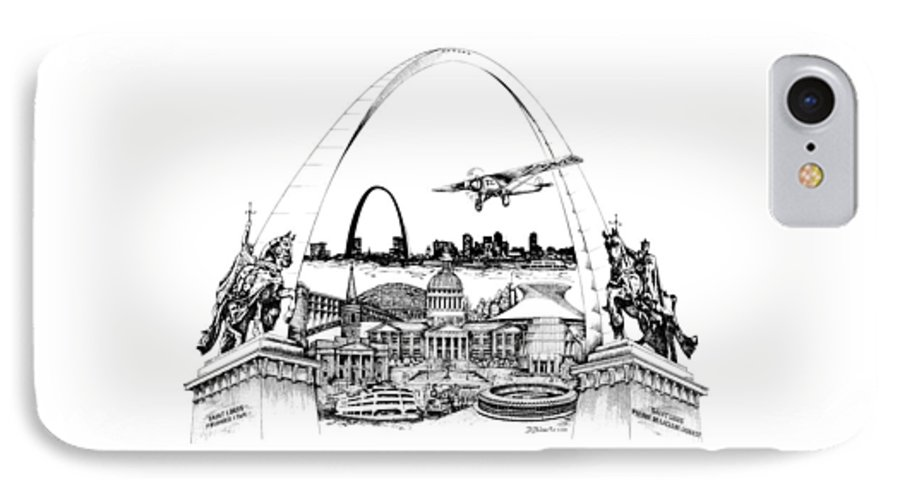 City Drawing IPhone 7 Case featuring the drawing St. Louis Highlights Version 1 by Dennis Bivens