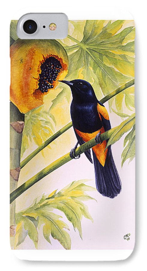 Chris Cox IPhone 7 Case featuring the painting St. Lucia Oriole And Papaya by Christopher Cox