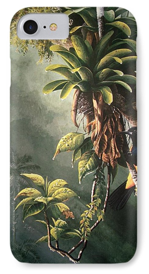 Chris Cox IPhone 7 Case featuring the painting St. Lucia Oriole In Bromeliads by Christopher Cox