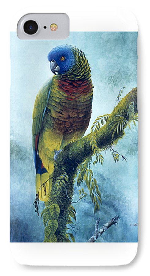 Chris Cox IPhone 7 Case featuring the painting St. Lucia Parrot - Majestic by Christopher Cox