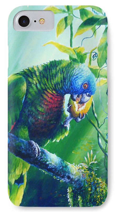 Chris Cox IPhone 7 Case featuring the painting St. Lucia Parrot And Wild Passionfruit by Christopher Cox
