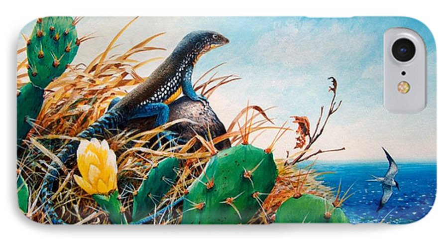 Chris Cox IPhone 7 Case featuring the painting St. Lucia Whiptail by Christopher Cox