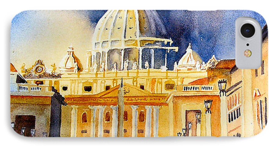 Vatican IPhone 7 Case featuring the painting St. Peters Basilica by Karen Stark