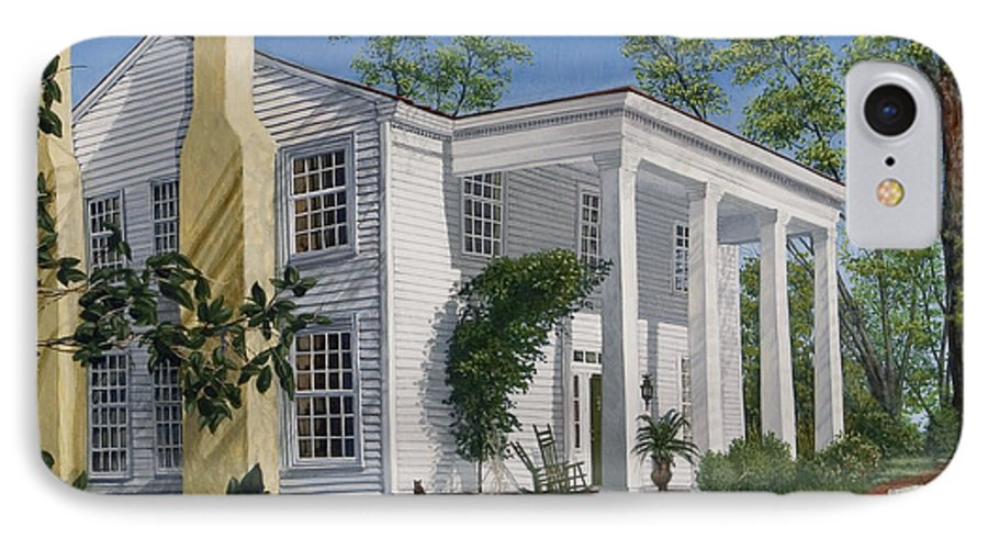 Landscape IPhone 7 Case featuring the painting Stagecoach Inn Madison Georgia by Peter Muzyka