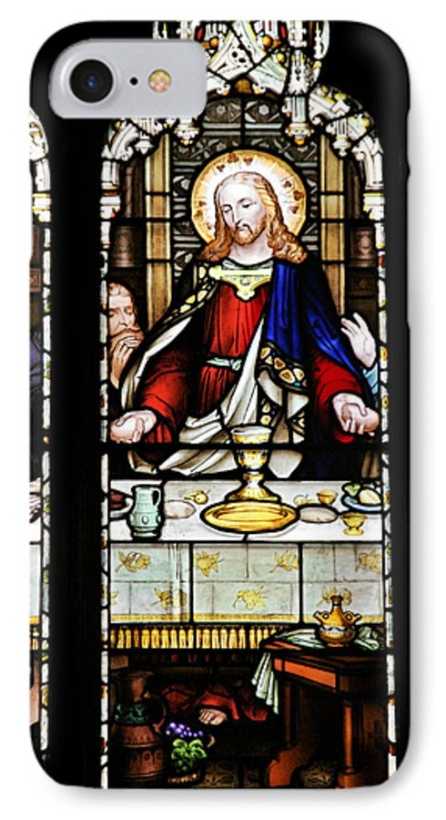 Stained IPhone 7 Case featuring the photograph Stained Glass Window Last Supper Saint Giles Cathedral Edinburgh Scotland by Christine Till