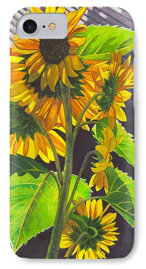 Sunflowers IPhone 7 Case featuring the painting Stalk Of Sunflowers by Catherine G McElroy